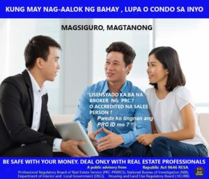 The difference between Real Estate Broker and Agent or Real Estate Salesperson (RA 9646)